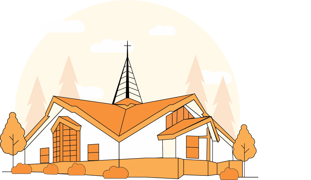 Christ Lutheran Church Exterior Line Art Drawing