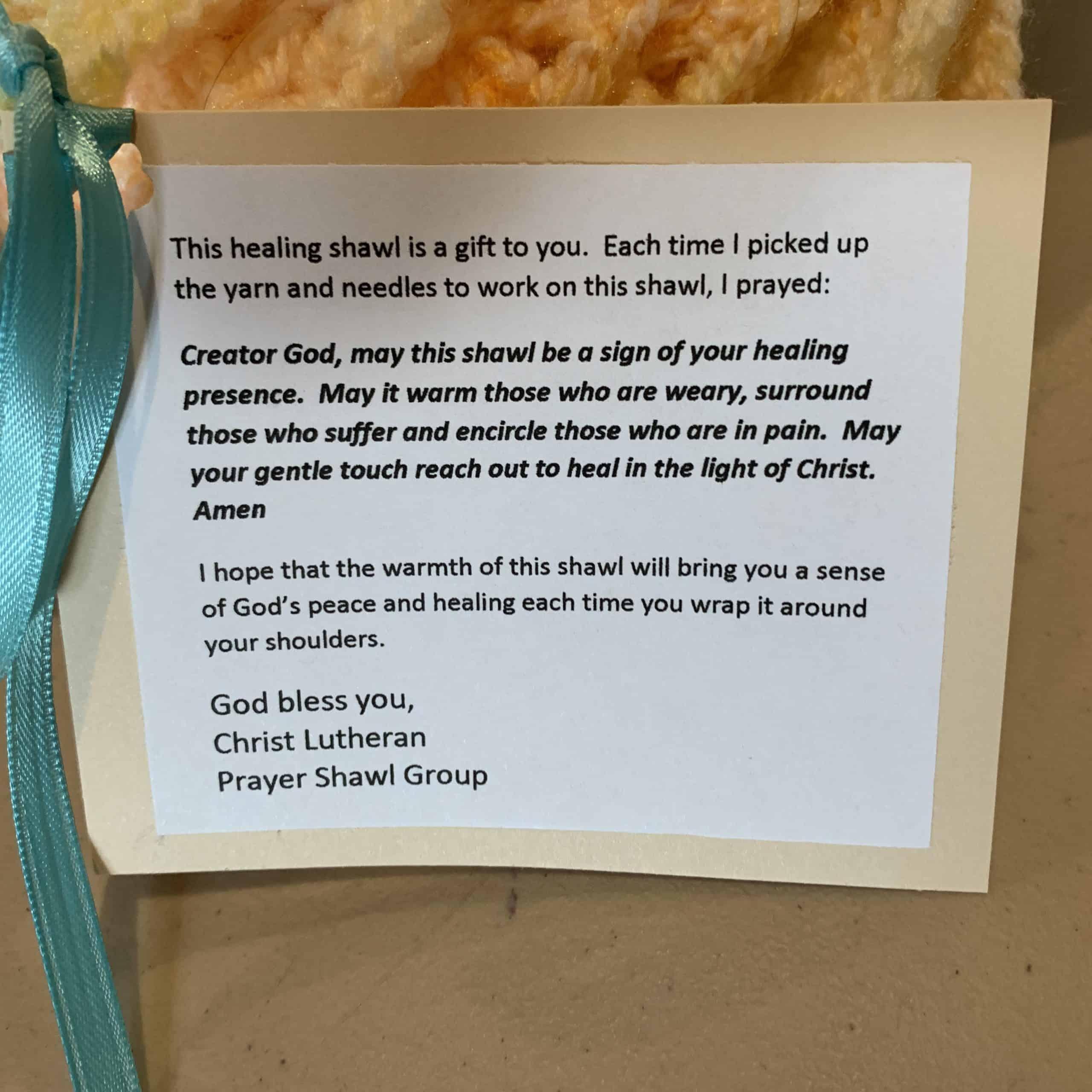 Christ Lutheran Church - Prayer Shawl - Note